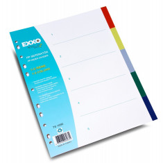 Separator colorat documente A4, cu perforatii, din plastic, Exxo - Mapa Papetarie