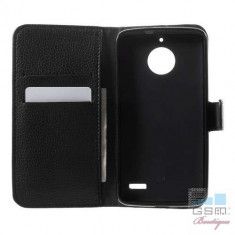 Husa Flip Cu Stand Motorola Moto E4 Neagra - Folie de protectie