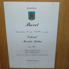 BREVET  ORDINUL MERITUL MILITAR CL.III-a ANUL 1995 SEMNAT ILIESCU