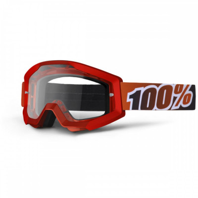 Ochelari motocross 100% Strata Fire Red, rosu, sticla clara Cod Produs: MX_NEW 26011513PE foto