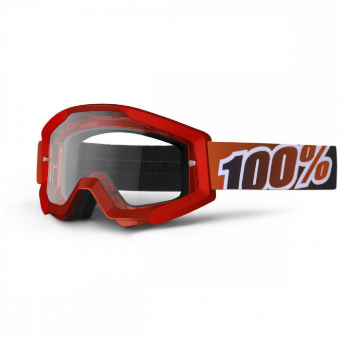 Ochelari motocross 100% Strata Fire Red, rosu, sticla clara Cod Produs: MX_NEW 26011513PE foto mare