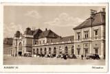 Cluj Kolozsvar gara,ilustrata animata,masini de epoca,birje  1940, Necirculata, Printata, Cluj Napoca