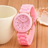 Ceas Geneva, damă, roz, casual, nou, Quartz, Otel