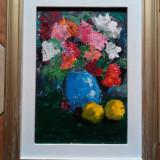 Pictura de Podolyak Vilmos - natura statica cu flori, Ulei, Impresionism