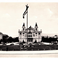 Cluj Kolozsvar, Teatrul National, masini de epoca, ilustrata 1940 - Carte Postala Transilvania dupa 1918, Necirculata, Printata, Cluj Napoca