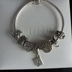 Bratara model PANDORA inima cu 7 charmuri placata argint - Bratara argint pandora, Femei