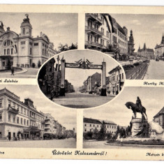 Cluj Kolozsvar ilustrata multipla, colaj, mozaic, 1940 - Carte Postala Transilvania dupa 1918, Necirculata, Printata, Cluj Napoca
