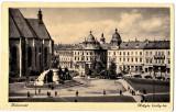 Cluj  Kolozsvar,statuia M.Corvin,turnurile gemene,masini de epoca,animata  1940, Necirculata, Printata, Cluj Napoca