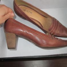Pantofi dama maro Geox respira 38 piele naturala interior si exterior - Pantof dama Geox, Cu toc