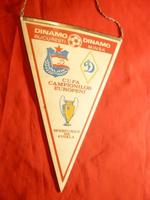 Fanion la Meciul de Fotbal Dinamo-Bucuresti- Dinamo Minsk-1984 sferturi Cupa foto