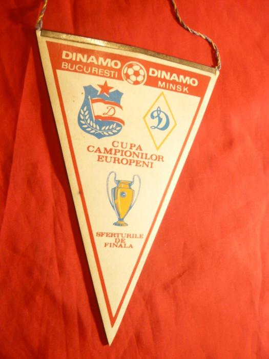 Fanion la Meciul de Fotbal Dinamo-Bucuresti- Dinamo Minsk-1984 sferturi Cupa foto mare