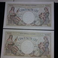 Bancnote romanesti 500lei 1930 serii consecutive aunc plus - Bancnota romaneasca