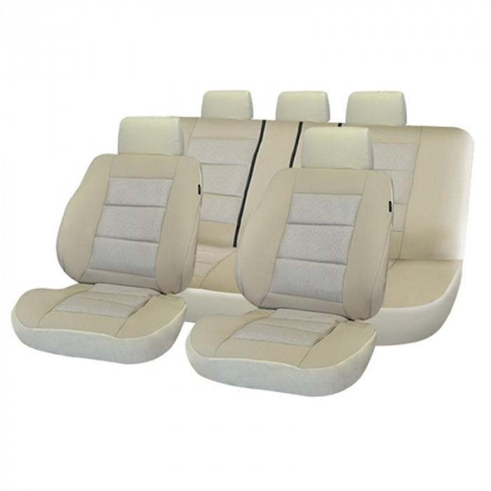 Set huse scaun auto Premium Lux -Bej foto mare
