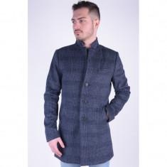 Palton Lana Lung Selected Free Blue Check - Palton barbati, Marime: M, Culoare: Albastru