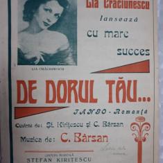 PARTITURA MUZICALA VECHE - DE DORUL TAU - LIA CRACIUNESCU - C.BARSAN - KIRITESCU