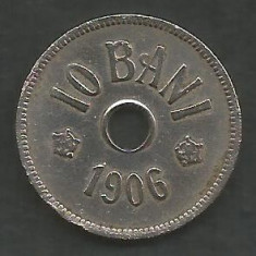 ROMANIA 10 BANI 1906, litera J - Monetaria Hamburg [12] livrare in cartonas - Moneda Romania, Cupru-Nichel