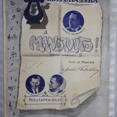 PARTITURA MUZICALA VECHE - MANDRULITO - A. GHIBANESCU - N .STOENESCU - V.DOBOS