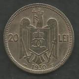 ROMANIA  CAROL II ,  20  LEI  1930 , PARIS   [20]  Livrare in cartonas, Cupru-Nichel