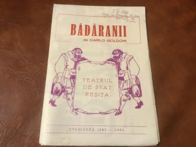 pliant cu afis Badaranii piesa jucata de teatrul de stat Resita anii 80 ! foto