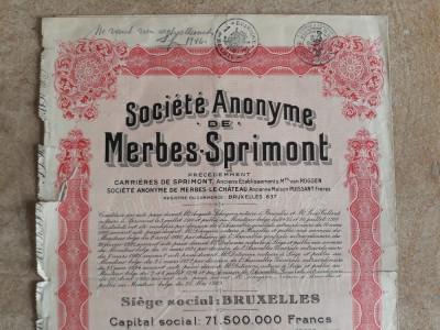 ACTIUNI SOCIETE ANONYME DE MERBES - SPRIMONT - 500 FR - BELGIA  1929 foto