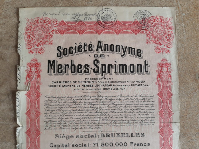 ACTIUNI SOCIETE ANONYME DE MERBES - SPRIMONT - 500 FR - BELGIA  1929