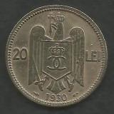 ROMANIA  CAROL II   20  LEI  1930  ,   PARIS  [14]   livrare in cartonas, Cupru-Nichel
