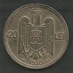 ROMANIA CAROL II 20 LEI 1930, PARIS [01] livrare in cartonas - Moneda Romania, Cupru-Nichel