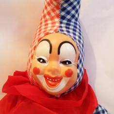 Clovn clown vechi, papusa jucarie veche, fata cauciuc, 39 cm