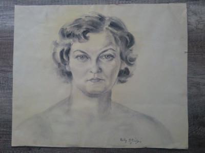 Portret femeie// creion pe hartie, Nelly Stiubei foto