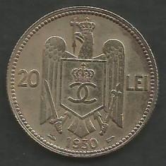 ROMANIA CAROL II 20 LEI 1930, PARIS [12] livrare in cartonas - Moneda Romania, Cupru-Nichel
