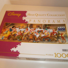 Joc Puzzle Clementoni Disney Panorama, cei 7 pitici, 1000 piese, made in Italy!