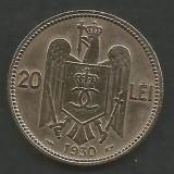 ROMANIA  CAROL II   20  LEI  1930  ,   PARIS  [3]   livrare in cartonas, Cupru-Nichel