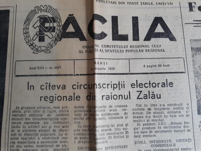 ZIARE VECHI - FACLIA - CLUJ - ANUL 1958 - ORGAN AL COMITETULUI REGIONAL PCR foto mare