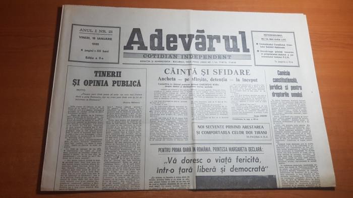 ziarul adevarul 19 ianuarie 1990-printesa margareta pt prima oara in romania