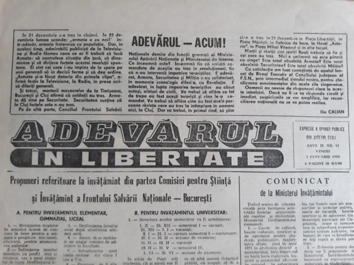 """ZIAR """"ADEVARUL IN LIBERTATE"""" CLUJ - ANUL II NR. 11 - EXPRESIE A OPINIEI PUBLICE"""