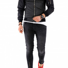Geaca barbati neagra - piele ecologica cu maneci negre - COLECTIE NOUA A1145, L, M, S, XL