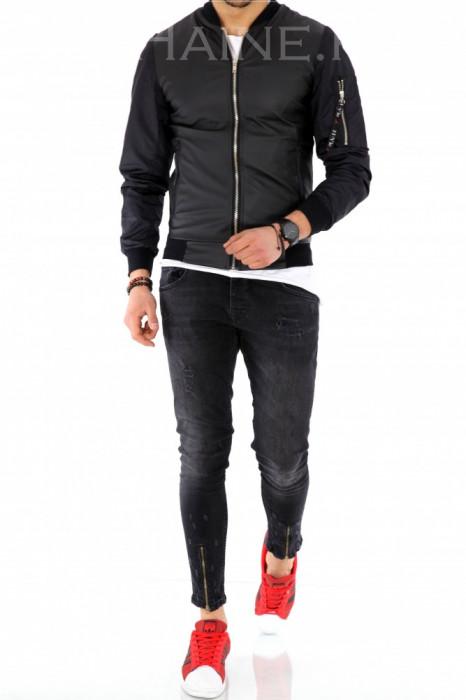 Geaca barbati neagra - piele ecologica cu maneci negre - COLECTIE NOUA A1145