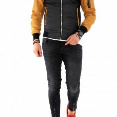 Geaca barbati neagra - piele ecologica cu maneci mustar - COLECTIE NOUA A1147, L, M, S, XL