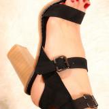 Sandale cu barete negre pe glezna AZMHigh