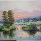 "Tablou pictat in ulei pe panza ""Apus in delta"", Peisaje, Altul"