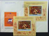 ROMANIA  - EXP.PRAGA,PICTURA-FLORI, 1988, 1 S/S + 1 FDC OBLIT. P.Z. - RO 0514, Arta