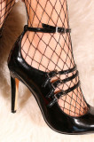 Pantofi stiletto cu bareta negri JASPAL, 36 - 39, Cu toc