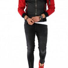 Geaca barbati neagra - piele ecologica cu maneci rosii -COLECTIE NOUA A1146 J5-2, L, M, S, XL