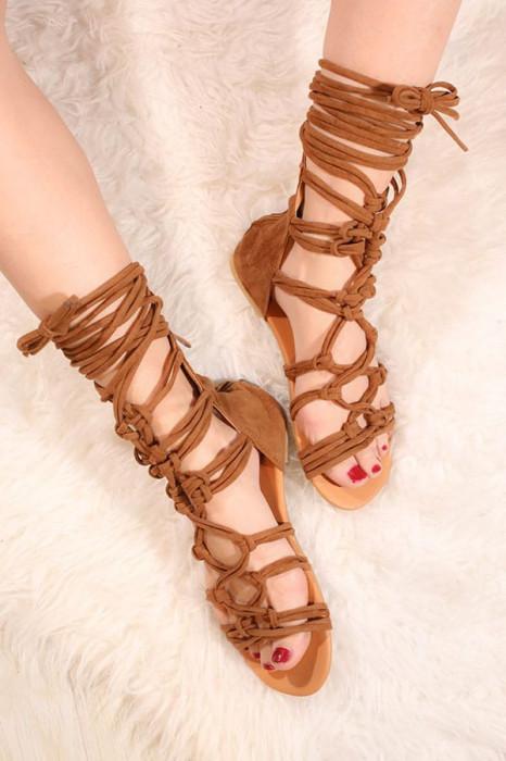Sandale cu siret pe picior maro VELVET