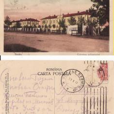 Bacau - Cazarma infanteriei- rara - Carte Postala Moldova 1904-1918, Circulata, Printata