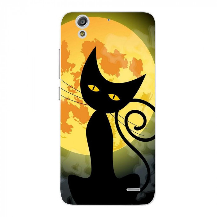 Husa Black Cat Full Monn Halloween HUAWEI Ascend G630 foto mare
