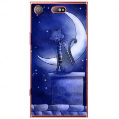 Husa Blue Cat And The Moon Sony Xperia Xz1 Compact - Husa Telefon
