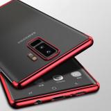 Husa Samsung S9 plus, silicon, anti-amprenta, transparent si rosu, GD564, Alt model telefon Samsung