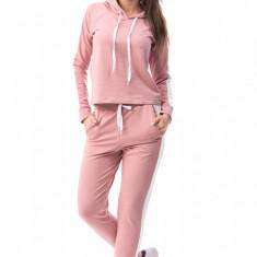 E571-5 Compleu sport, roz, format din hanorac cu gluga si pantaloni - Top dama, Marime: M/L