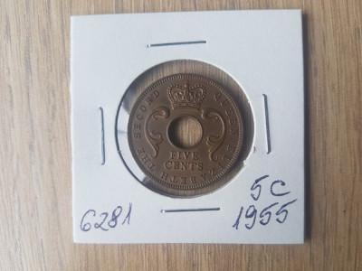 6281 AFRICA DE EST 5  CENTI 1955 foto